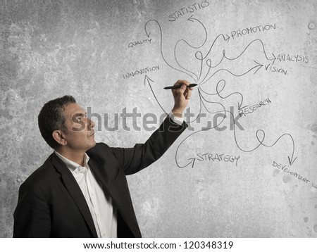 Businessman drawing business concept with a pen - stock photo