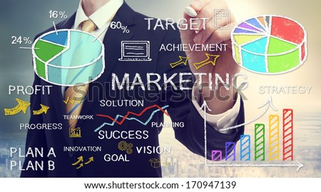Businessman drawing business marketing concepts with chalk - stock photo