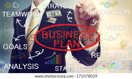 Businessman drawing business plan concepts with chalk - stock photo