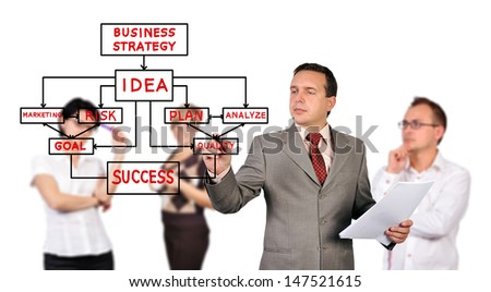 businessman drawing business strategy  and people on background