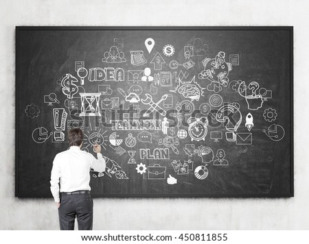 Businessman drawing chaotic business sketch on chalk board hanging on concrete wall. Back view, Success concept
