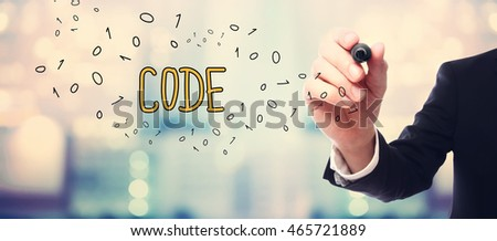 Businessman drawing Code concept on blurred abstract background