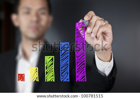 Businessman drawing colorful chart on whiteboard - stock photo