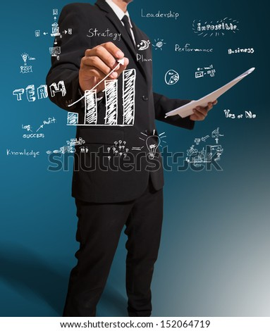 businessman drawing concept of business and graph - stock photo