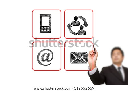 businessman drawing Contact buttons set - email, envelope,  mobile icons