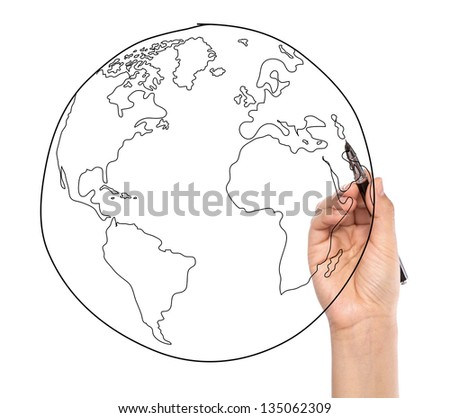 Businessman drawing earth in a whiteboard - stock photo