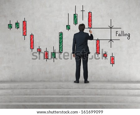 Businessman drawing falling window - stock photo
