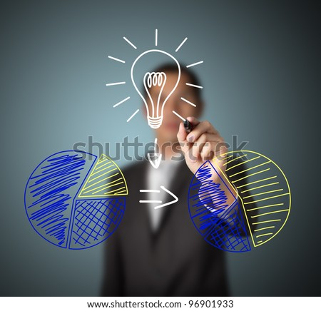 businessman drawing figure of good idea or innovation can change percent of market share - stock photo