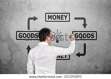 businessman drawing goods and money scheme on concrete wall - stock photo