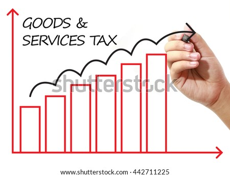 Businessman drawing GOODS & SERVICES TAX Graph on virtual screen. Business, banking, finance and investment concept.