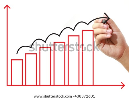 Businessman drawing graph on virtual screen. Business, banking, finance and investment concept. - stock photo