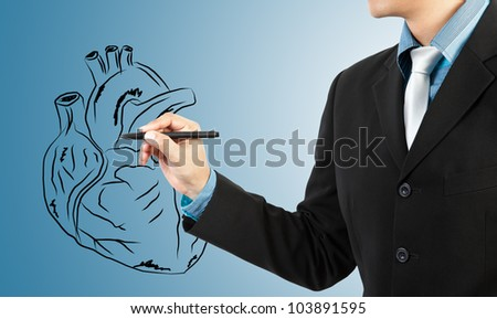 businessman drawing heart diagram - stock photo