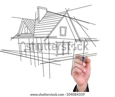 Businessman drawing house isolated on white background. - stock photo