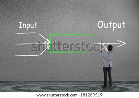 businessman drawing input output concept