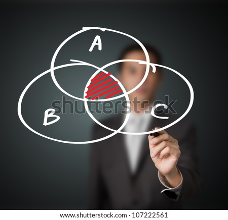 businessman drawing intersected circle diagram - stock photo