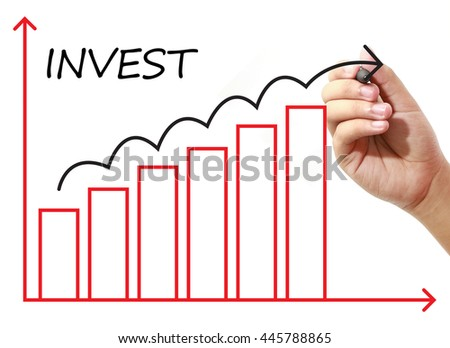 Businessman drawing INVEST Graph on virtual screen. Business, banking, finance and investment concept.