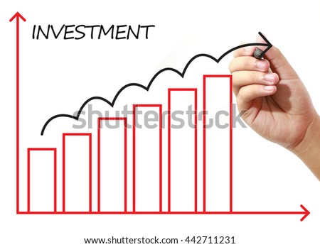 Businessman drawing INVESTMENT Graph on virtual screen. Business, banking, finance and investment concept.