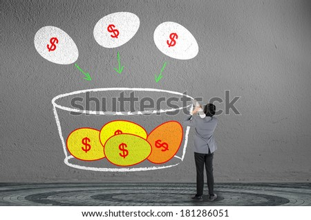 Businessman drawing investor concept many eggs input to one basket