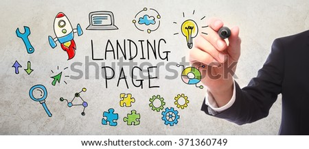 Businessman drawing Landing page concept with a marker