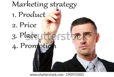 businessman drawing marketing strategy concept.