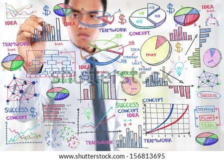 Businessman drawing modern business concept. - stock photo