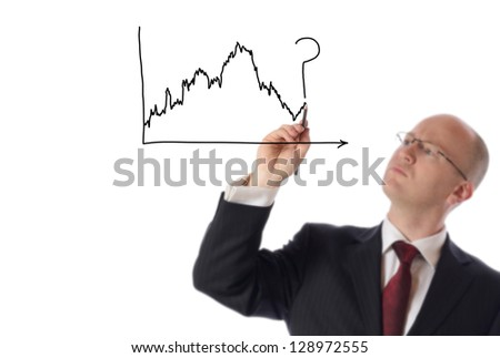 businessman drawing on copy space of stock market chart isolated on white - stock photo