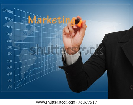 businessman drawing on glass - stock photo
