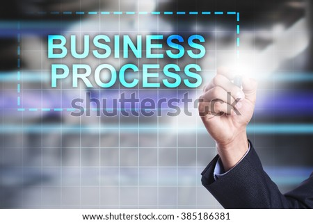 "Businessman drawing on virtual screen ""Business process"". - stock photo"