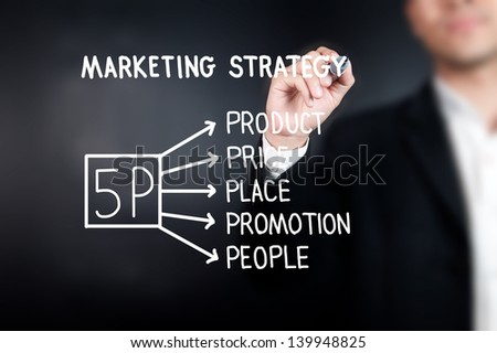 Businessman drawing 5P marketing strategy on whiteboard - stock photo