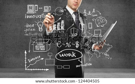 businessman drawing plan business concept - stock photo
