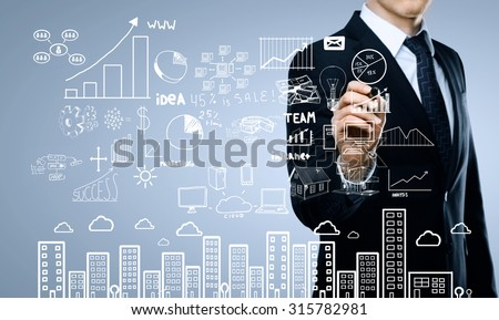 businessman drawing plan business concept