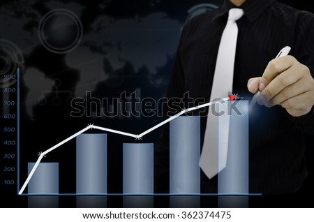 Businessman drawing present infographs