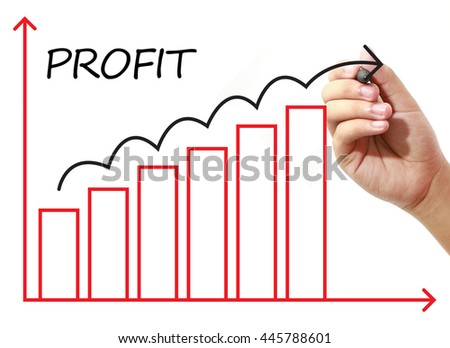 Businessman drawing PROFIT Graph on virtual screen. Business, banking, finance and investment concept.