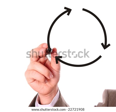 Businessman drawing recycling symbol on the whiteboard - stock photo