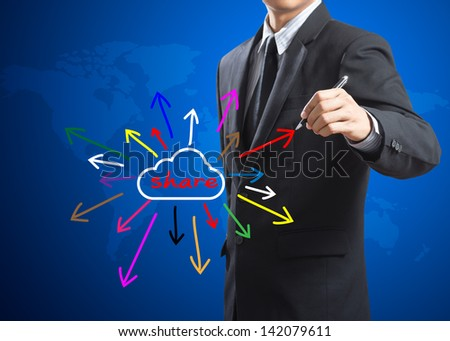 businessman drawing share idea, social network - stock photo