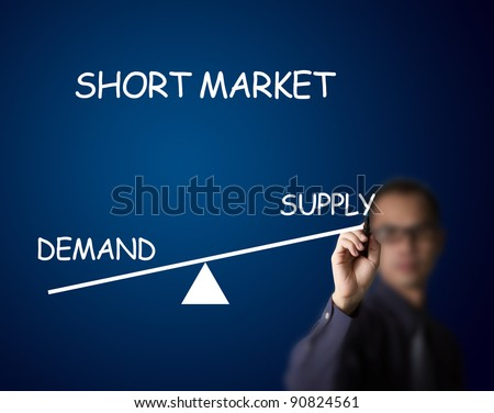 businessman drawing short balance of demand and supply market on lever - stock photo