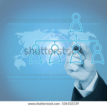 businessman drawing social network in digital age - stock photo