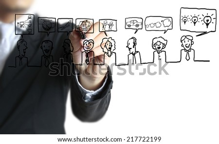 Businessman drawing social network structure  - stock photo