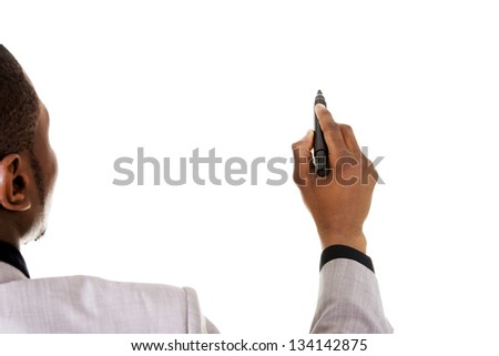 Businessman drawing something abstract with black marker, isolated on white background - stock photo