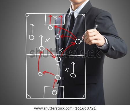 Businessman drawing tactic scheme strategy of attacking game on board - stock photo