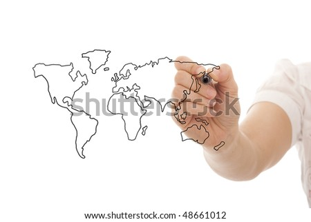businessman drawing the world map in a whiteboard (selective focus) - stock photo
