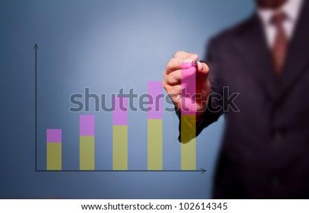 businessman drawing upward trend bar chart - stock photo