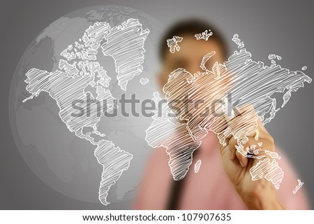 Businessman Drawing World Map Globe line on the whiteboard. - stock photo