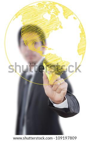 Businessman Drawing World Map Globe line on the whiteboard. - stock photo