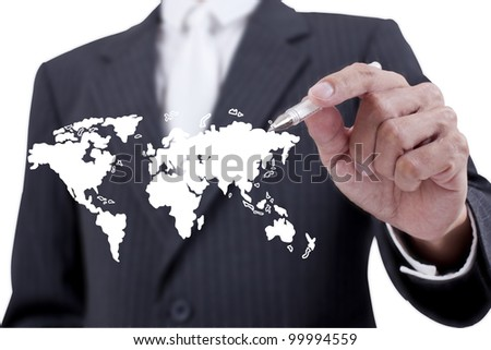 Businessman drawing world map on whiteboard - stock photo
