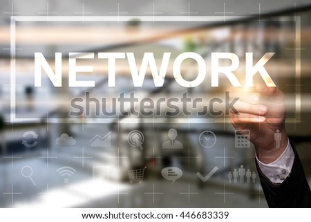 "Businessman draws ""Network"" on the virtual screen. Business concept. Internet concept. - stock photo"