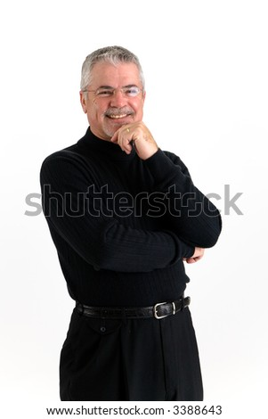 Businessman dressed in black with a big smile.