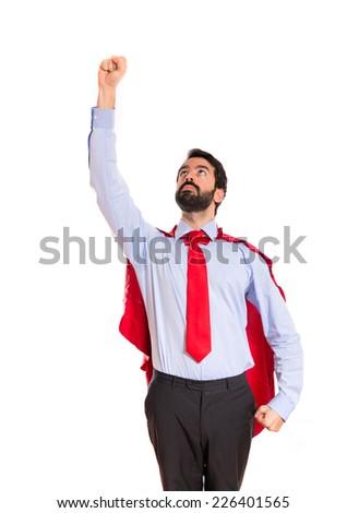Businessman dressed like superhero  - stock photo