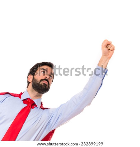 Businessman dressed like superhero  - stock photo