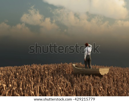 businessman drifting through the sea of human hands, 3d illustration - stock photo